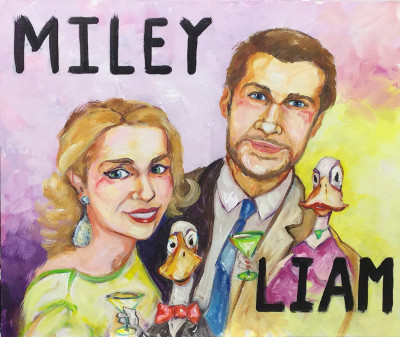 Miley, Liam and two ducks