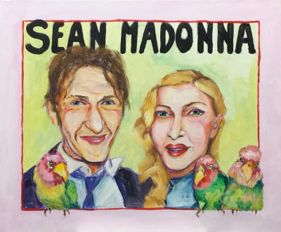 Sean, Madonna and three peach-faced lovebirds