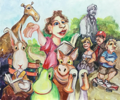 Holding her class in the park near the President's statue, Miss Muddle reads 'Pat the bunny'