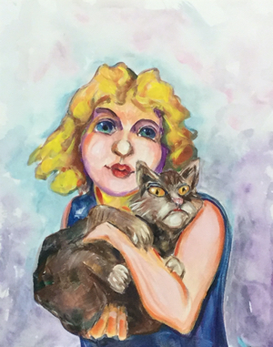 Girl and cat 218