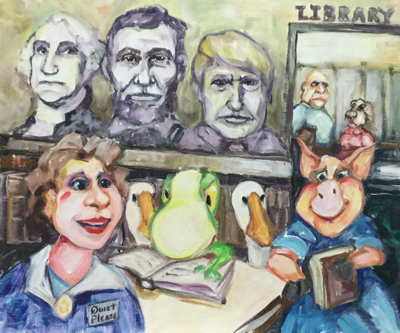 In the library under the gaze of Presidents, Froggy studies the Constitution