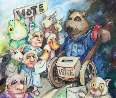 Froggy and the Duck brothers help some old ladies and retired rabbits to voter